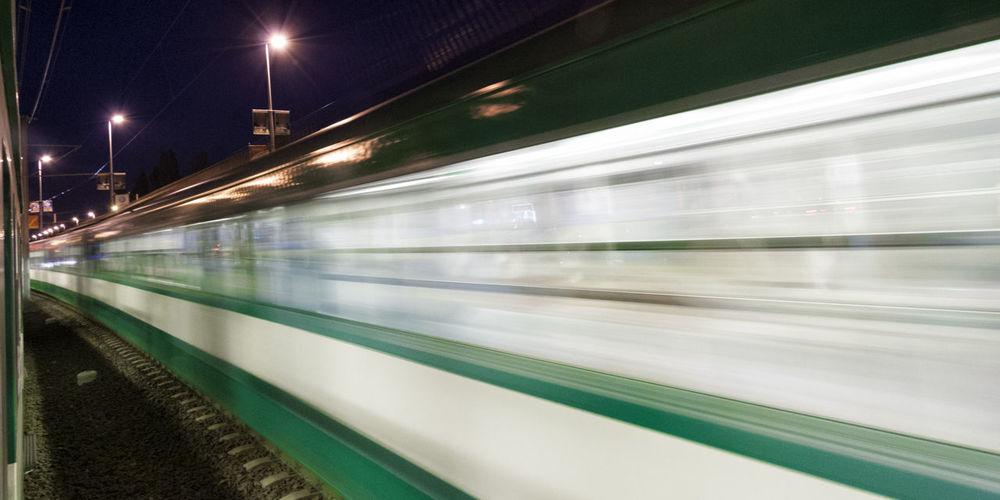 Blurred motion train at night