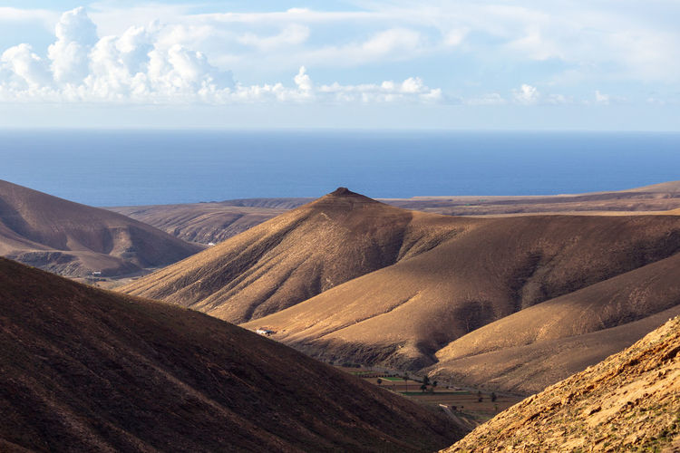 Panoramic view at landscape between betancuria and pajara on fuerteventura, spain