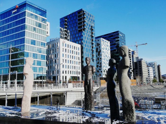 Skulptures Architecture Barcode Oslo Norway Tall Buildings New Architecture New Neighborhood Buildings In Sunlight Eyeemphoto