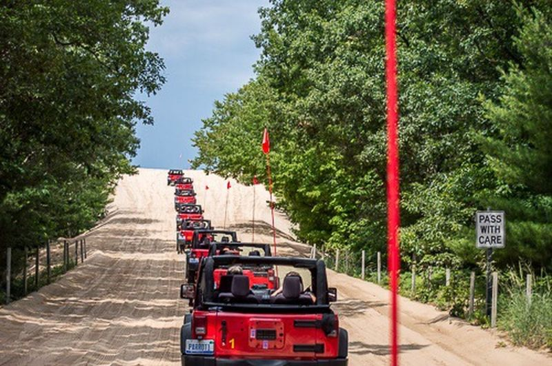 Tourism Jeep Red Vehicle Sand Sand Dune Michigan Jeep Tours Symmetry Lines in Silver Lake Mi