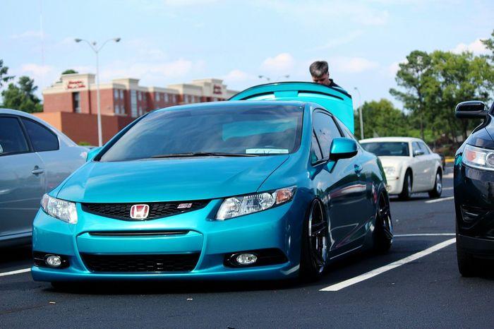DOPE Lit Like Tagsforlikes Civic Loweredlifestyle Lowered Bagged EyeEm Selects Car Blue Transportation Road Outdoors City Day