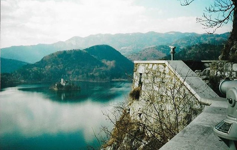 Bled Island, Lake Bled in Slovenia. Gorgeous place. Taken from the ramparts of Bled Castle. Bled BledCastle Bledisland Church Islandchurch Slovenia Scannedphoto Memories Landscape Nature Lake Island