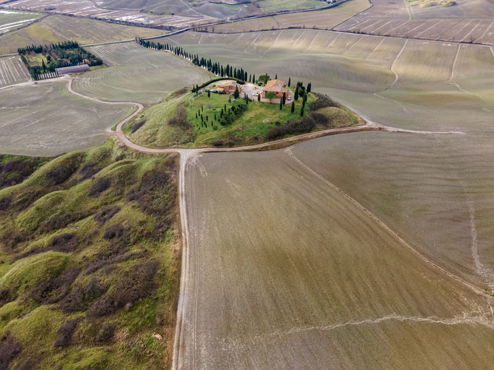 High angle view of road amidst agricultural land