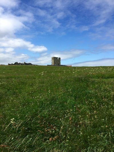 Castle Scarborough Field Sky Landscape Tranquil Scene Grassy Cloud - Sky Horizon Over Land Day Outdoors