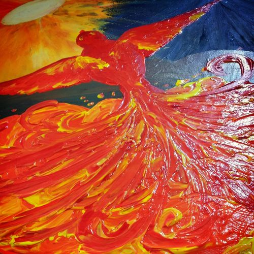 Flames done. Nearly finished. Finger Painting Painting Canvas