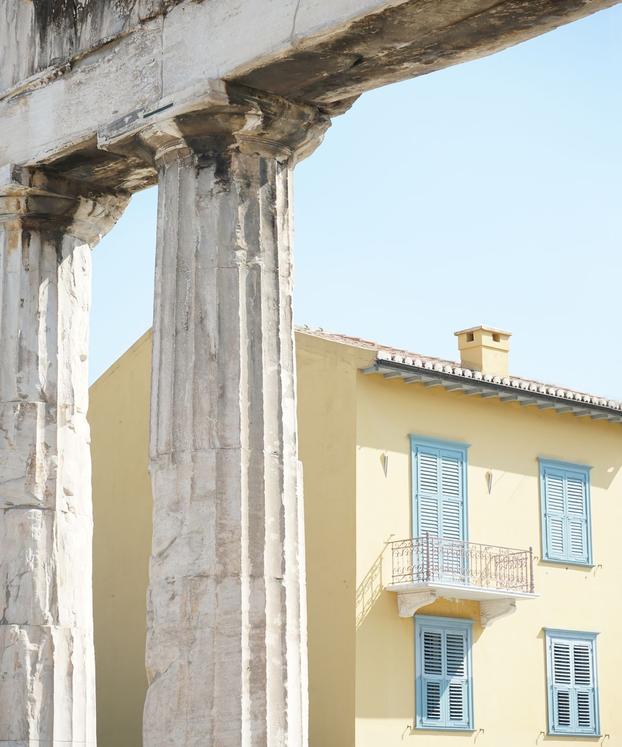 Building by architectural columns