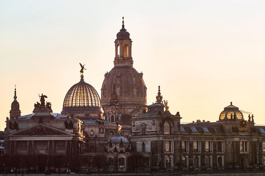 Dresden Frauenkirche Wanderlust Dome Architecture Religion Building Exterior Built Structure Place Of Worship Spirituality Sunset Outdoors Sky Travel Destinations No People Clear Sky Day City