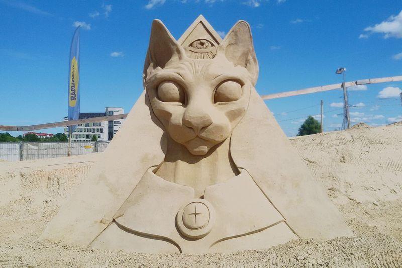 Sand cat Cat Sphynx Egypt Latvia Jelgava Sculpture Beach Sand Sculpture Sky Close-up Carving - Craft Product Statue Sculpted Art