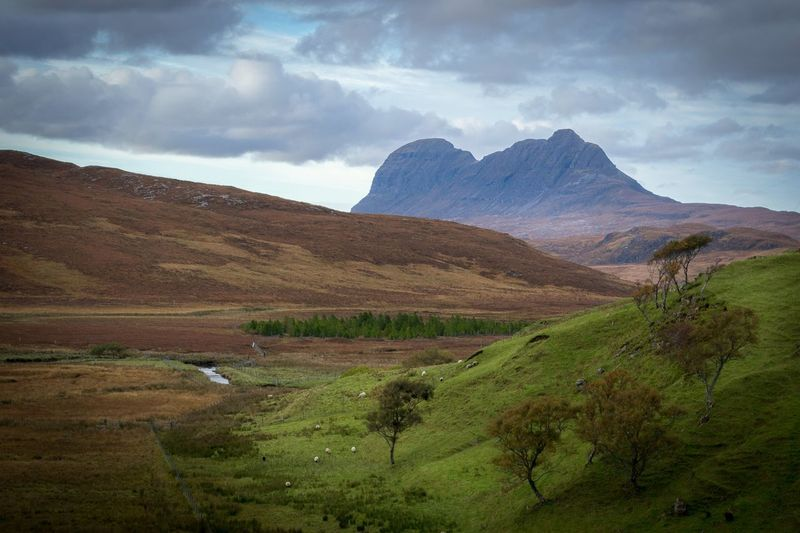 Cloud - Sky Awe Landscape Mountain Storm Agriculture Scenics No People Nature Outdoors Beauty In Nature Scotland Suilven Suilven Green Hill Hillside Hillside View
