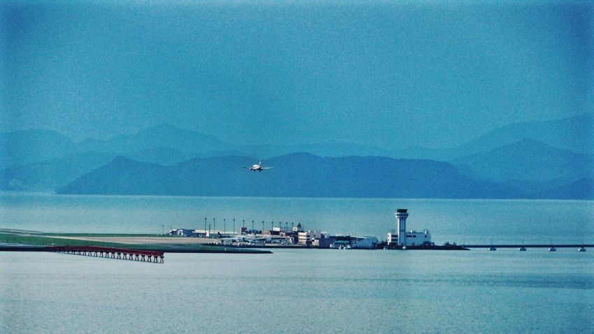 Welcome Nagasaki Airport : Landscape Sea And Sky Mountainview Final Approach 420mm 16:9 Crop