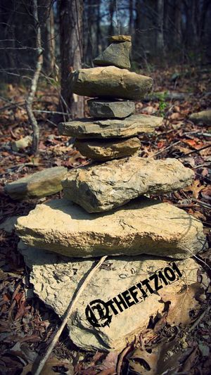 There are some interesting tidbits to be found on the trails these days. Bored Hippies Forest Nature Tree Close-up Tree Trunk No People Outdoors Day Rock Stacking