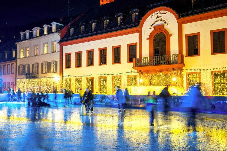 Christmas Market, Heidelberg, Germany Blaue Stunde Blue Hour Castle Christ Christmas Christmas Market Christmas Market ♡ Church Eisbahn Go Ice Skating Heidelberg Heumarkt  Ice Ice Skating Market Schlittschuh Schloss Tree Water Weihnachten Weihnachtsbaum
