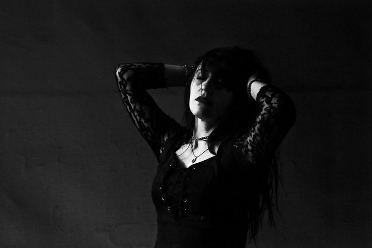Shorena Black Black Dress Blackandwhite Closed Eyes Day Gothic Gothic Dress Gothic Style Indoors  Lonely One Person Real People Sad Sadness Sadness And Sorrow Shadows & Lights Sprituality Young Adult