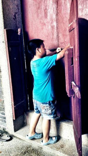Entry Red Door Boy Home Mother's 1930s 1940s Village Jiangmen Guangdong