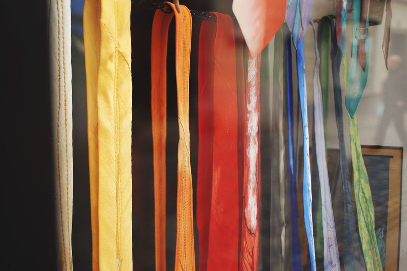 Choose you color palette Palette Colors Shopping Time Window View Colors Tie Multi Colored Variation Indoors  Choice No People Hanging Textile Pattern Side By Side Full Frame Backgrounds Art And Craft Close-up Creativity Still Life Arrangement Curtain In A Row