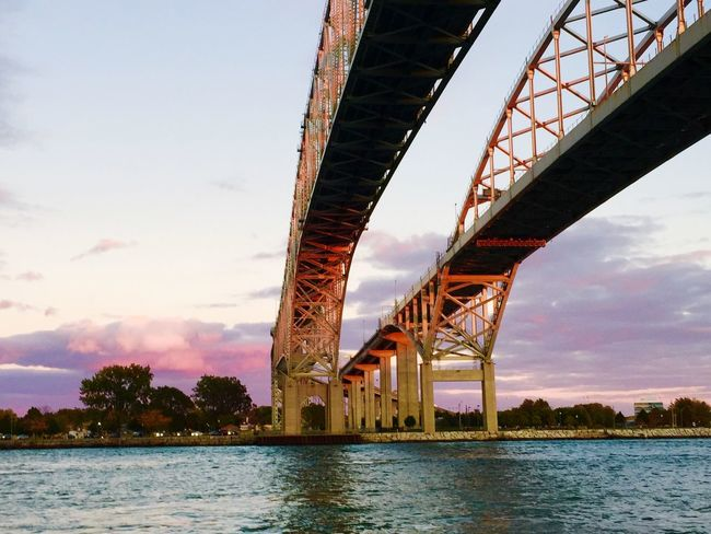 Travelling Sky And Clouds Under The Bridge Blue Water Bridge Water My Cloud Obsession☁️ Great View Port Huron Michigan United States