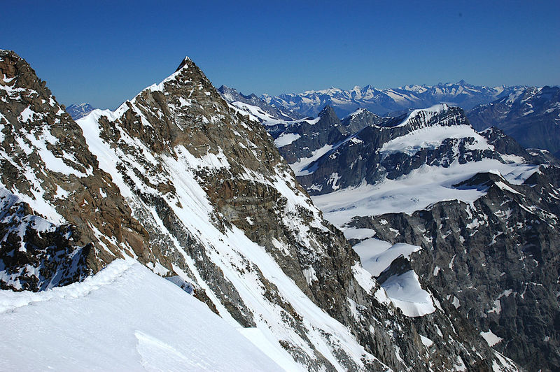 Dufour and nordend summits in monte rosa chain, european alps, italian-swiss border.