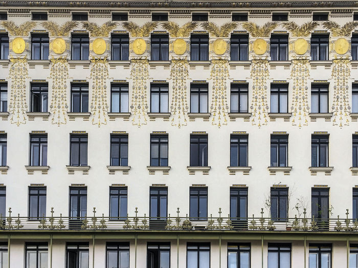 Secessionist Architecture, Vienna Secessionist-style Apartment Architecture Art Nouveau Artnouveau Building Building Exterior Built Structure City Design Façade Full Frame No People Ottowagner Repetition Residential District Secession