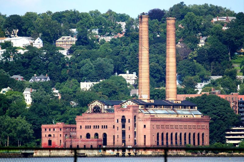 Industrial Building  Red Bricks Red Brick Building Tall Chimneys Street Photography Popular Photos EyeEm Gallery Hudson Valley Popular EyeEm Selects Hudson River On The River Bank  No People Check This Out Tree Water Architecture Building Exterior Sky Built Structure