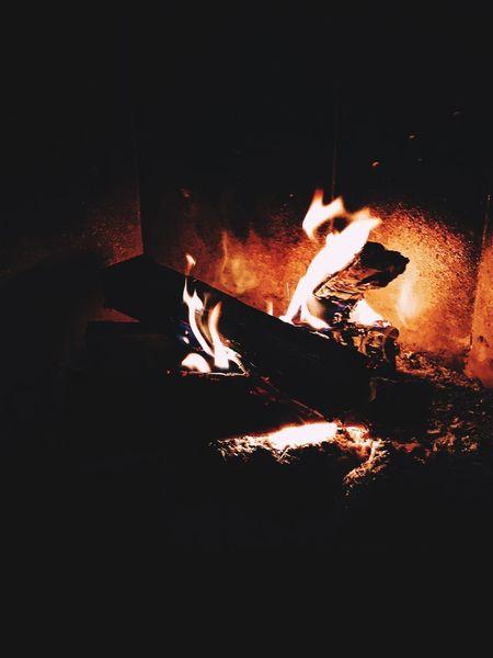 Burning Flame Night Heat - Temperature Illuminated Indoors