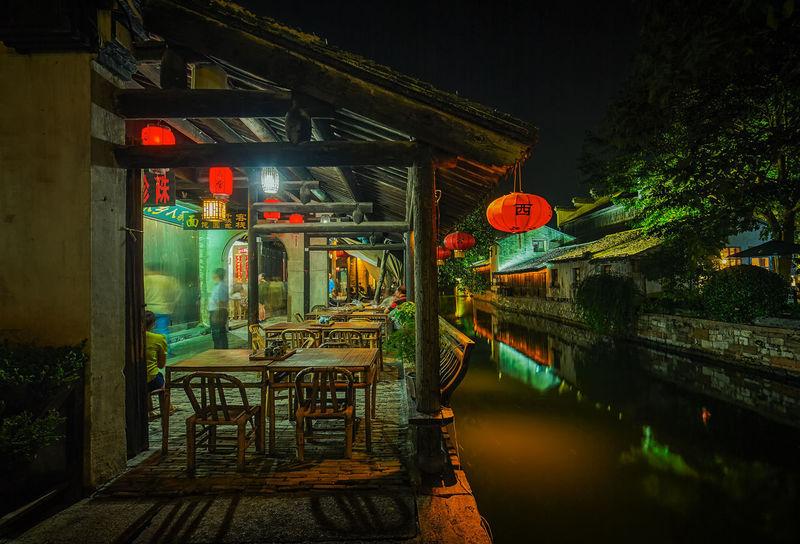 水鄉的夜 南潯 古鎮 夜景 攝影 旅遊 旅遊目的地 桌椅 水鄉 河道 浙江 燈光 燈籠