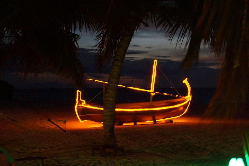 love boat maledive Love Boat Maledive Love Boat Night Light Boat Tree Water Illuminated Nautical Vessel Sky Landscape