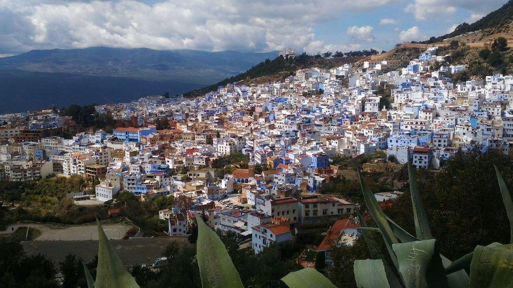 Morocco View Architecture Bluecity Chefchaouen Cityscape Mountain Travel Destinations