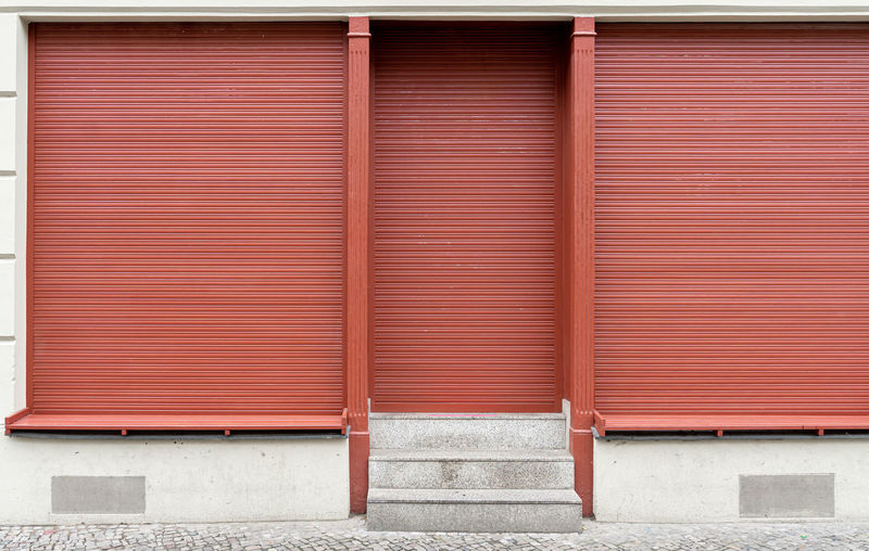 Full frame shot of shop front with closed  shutter