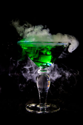 Bubbling Martini II Black Background Bubbling Cocktail Cocktail Dramatic Lighting Dry Ice Cocktails Green Color Halloween Light Effect Martini Martini Glass Studio Shot Witches Brew