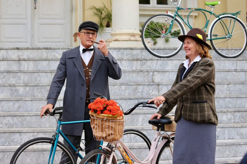 Let's go by bike.. Adults Only Bicycle Bike Biker Bycicles Couple Cycling Day Hat Let's Go. Together. Lifestyles Man And Women Mode Of Transport Outdoors People Ride Smiling Stairways Standing Suit Transportation Tweed Ride Vintage Vintage Photo Well-dressed