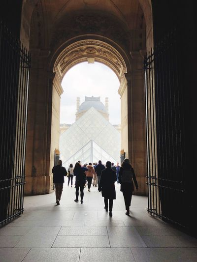 Louvre France Paris Group Of People Architecture Real People Built Structure Women Arch Men Walking Crowd Day Building Travel Lifestyles