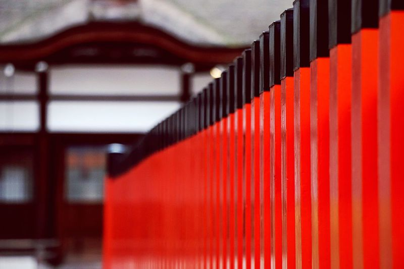 Black and red railings at japanese temple