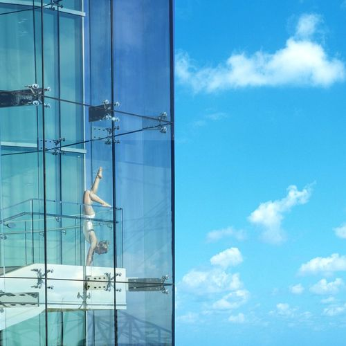 Glass Windows View Yogogirls Yoga Handstand  Balance Sky Clouds