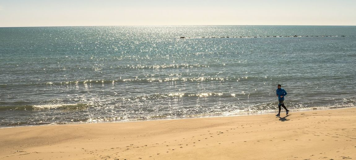 Runner Beach Sea Sand Nature LifestylesTranquility Seascape Italy One Person Landscape Running Man Sun Runner Sports Day  Sport Atletic Corsa Footing 🏃 Sun