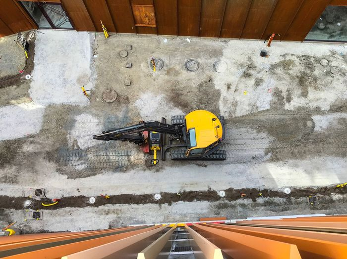 High angle view of excavator at construction site