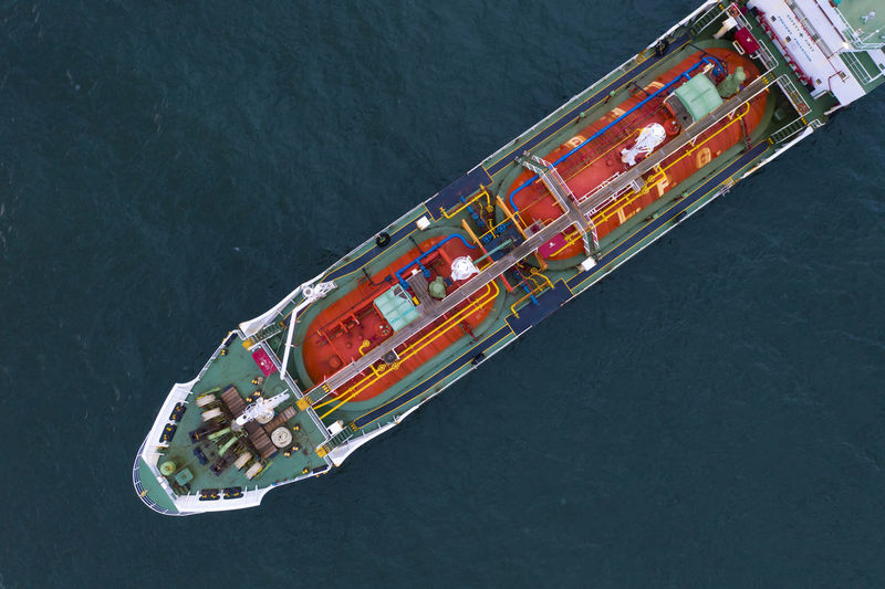 High angle view of ship sailing on sea