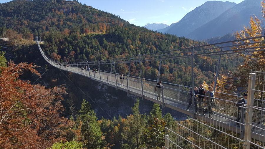 High angle view of bridge over mountains