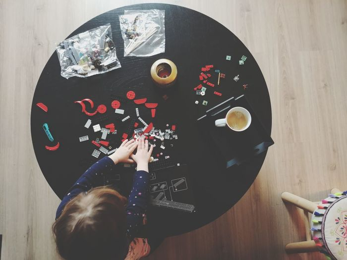 Directly above shot of child on table