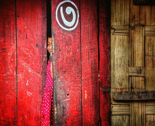 Smiling girl standing between ajar door
