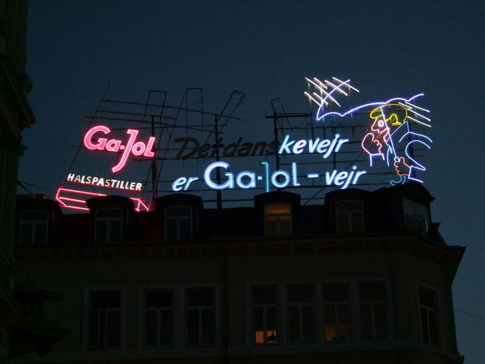 Neon Sign, Vetserbrogade Advertising Signs Capital City Composition Copenhagen Danish Language Dark Sky Denmark Full Frame Illuminated Information Information Sign Low Angle View Multi Colored Neon Neon Sign Night Photography No People Outdoor Photography Text Tourism Western Script