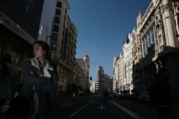 A view of the Gran Via in Madrid, Spain Architecture Building Building Exterior Built Structure Capital Cities  City City Life Cityscape Composition Culture Façade Historic History Modern Office Building Outdoors Perspective Religion Skyscraper Spain, Madrid, Tourism, Tourist, Buildings Tall - High Tower