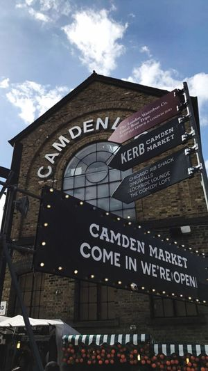 Camden Town London Text Western Script Built Structure Architecture Building Exterior Communication Low Angle View Day Outdoors No People Sky EyeEm LOST IN London