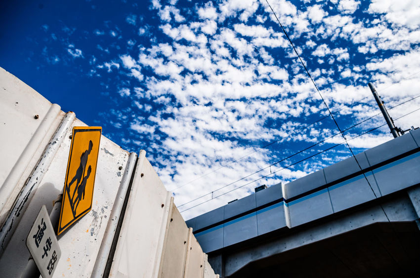 Architecture Blue Built Structure Cable Cloud - Sky Day No People Outdoors Railway Bridge Signboard Sky