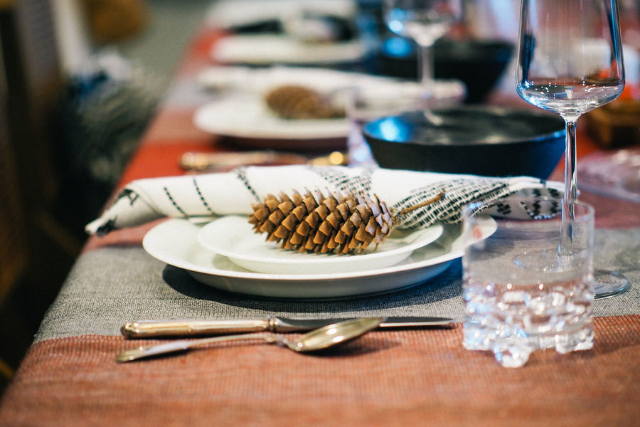 Close-Up of Christmas Dinner Table Setting Celebration Close-up Cutlery Day Dining Table Dinner Drinking Glass Evening Meal Food Food And Drink Fork Gratitude Home Interior Indoors  Japan No People Place Setting Plate Season  Table Tablecloth Thanksgiving Wineglass Yokohama