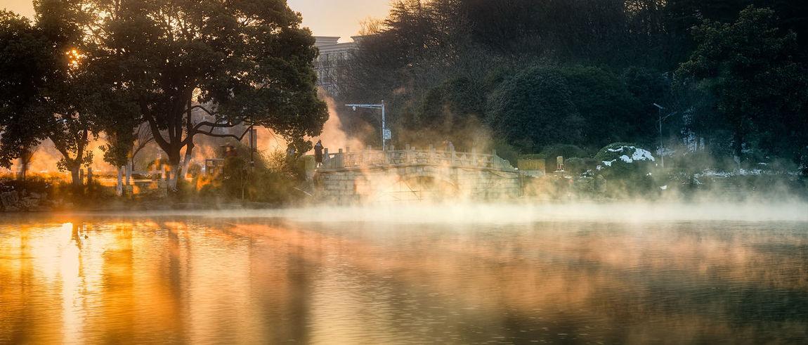 晨 Beauty In Nature Day Foggy Morning Long Exposure Motion Nature Outdoors Reflection Tree Water 南京 旅游 珍珠泉