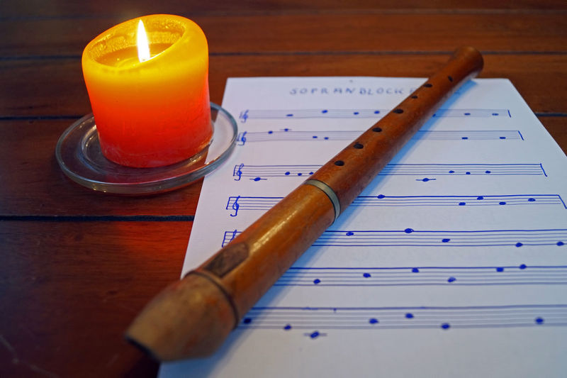 Sopranblockflöte Candle Candlelight Close-up Day Hamburg Indoors  Music Music Brings Us Together Music Is My Life No People Recorder Sheet Music Soprano Recorder Table Taking Photos Taking Pictures Timepaint72