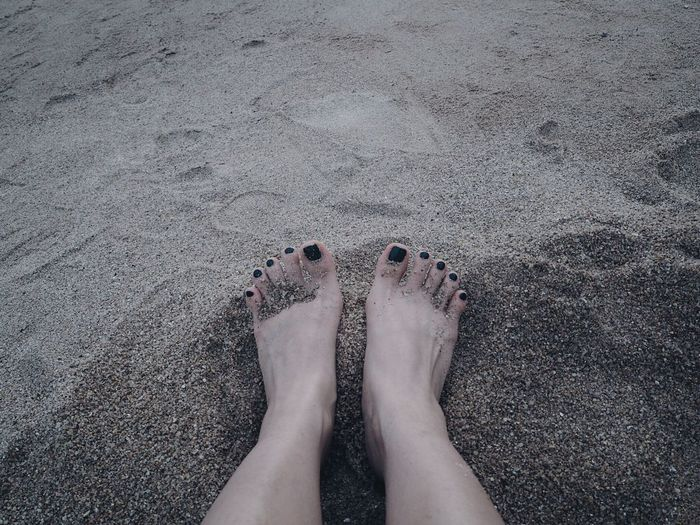 Low Section Human Leg Human Body Part Body Part Human Foot One Person Personal Perspective Beach barefoot Sand Land Standing Real People High Angle View Women Day Lifestyles Adult Nature Nail Relaxing Good Vibes Chilling
