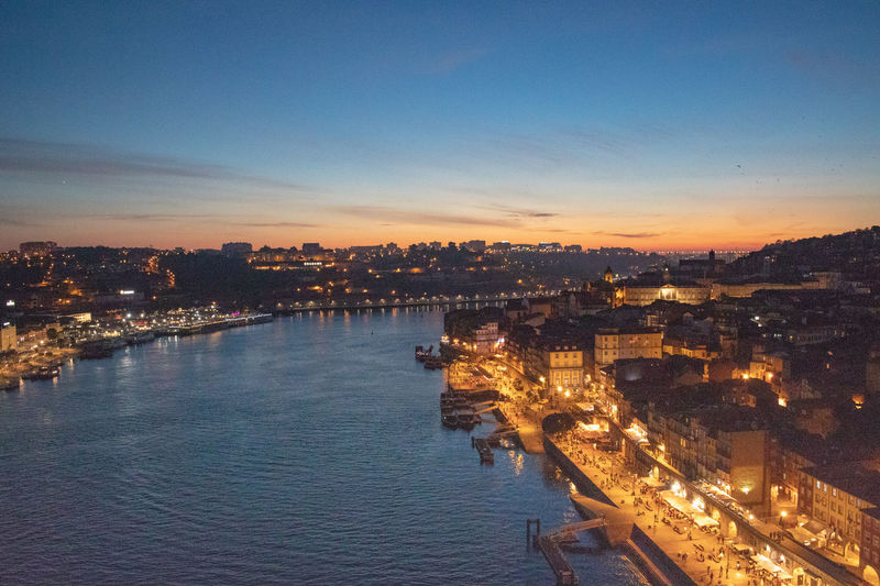 Porto Ribeira district at night near River Douro. Historical centre. Douro  Portugal Architecture Building Building Exterior Built Structure City Cityscape Dusk High Angle View Illuminated Nature No People Outdoors Residential District River Sky Sunset Transportation Water Waterfront