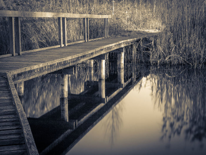 Bridge - Man Made Structure Connection Lake Monochrome Pier Railing Sea Water Wood Olympus OM-D E-M5 Mk.II