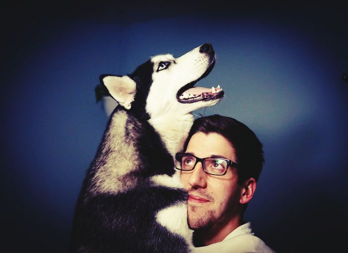 Portrait of man with dog